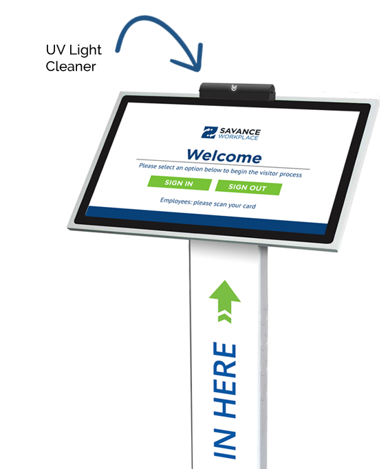 UV light cleaner for visitor management and staff kiosks