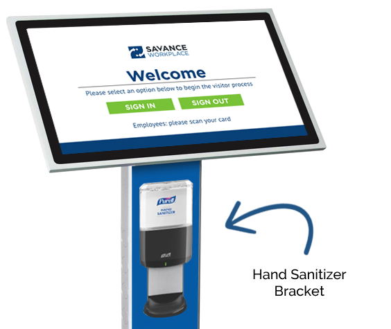 Hand sanitizer bracket for visitor management or staff check-in kiosk