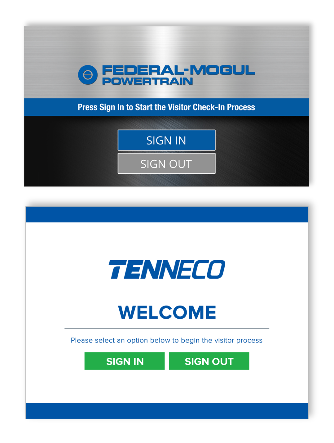 Custom visitor management screen design created for Federal-Mogul with rebranding to Tenneco following aquisition