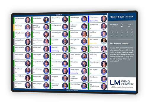 Custom large screen status display designed for LM Wind Power