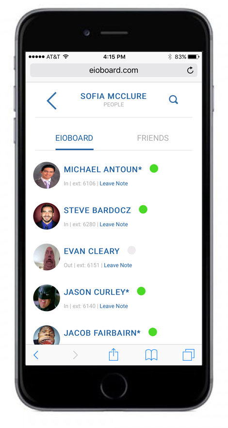 EIOBoard Mobile Screenshot: View Contacts by Group