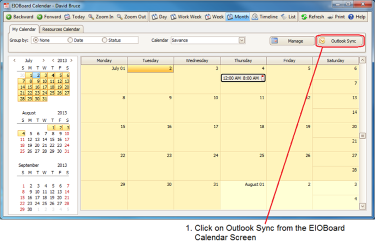 EIOBoard Calendar Sync with Microsoft Outlook