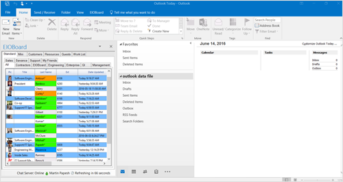 Microsoft Outlook In/Out Board Main Screen