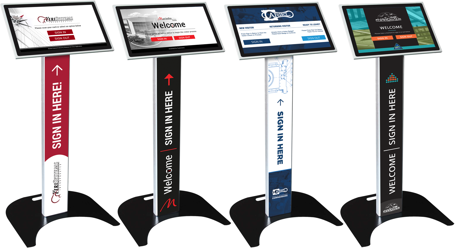 Sleek podium-style visitor management self check-in kiosks