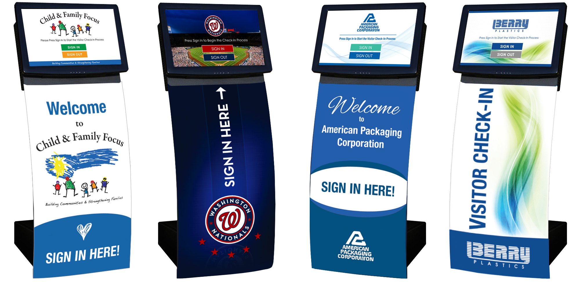 Modern, curved visitor management self check-in kiosks