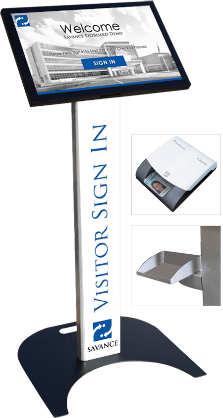 22in Visitor Management Kiosk with Floor Stand and Add-Ons