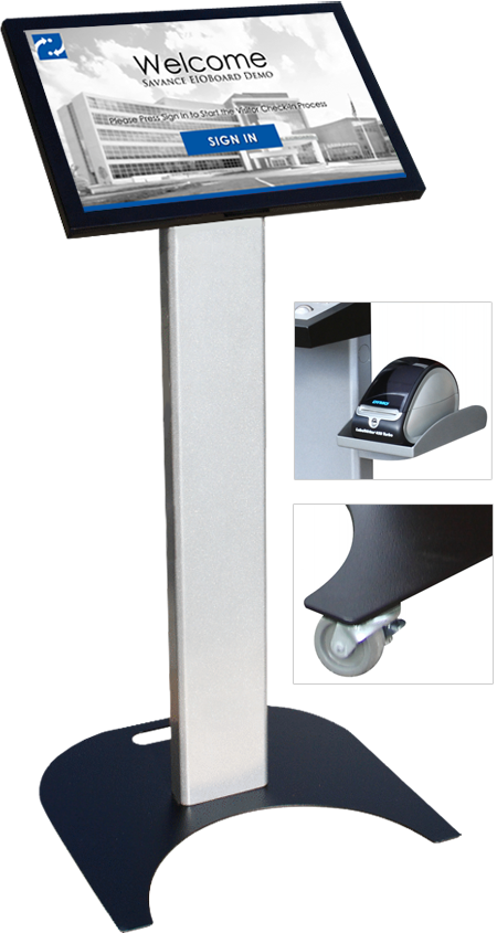 22in Visitor Management Kiosk with Floor Stand, Label Printer & Casters