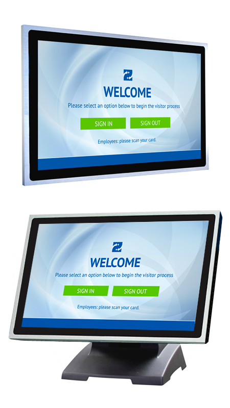 Visitor Management Kiosk - Wall-Mounted & Desktop Stand