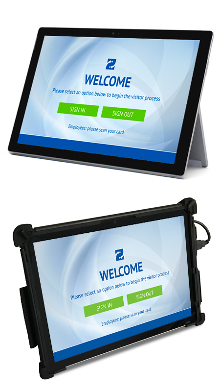 Visitor Management Tablet with and without protective case