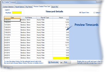 Preview Timsheets